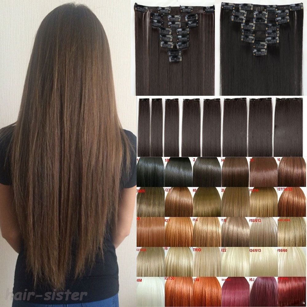 Long Women 26 Striaght Full Head Clip In Hair Extensions 8 Pieces