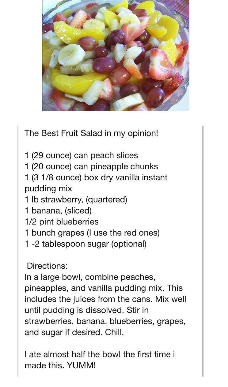 Best fruit salad with vanilla pudding food and drinks for Canape recipes with ingredients and procedure