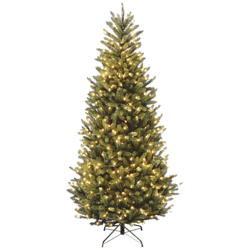 National Tree Company 7 1 2 Ft Natural Fraser Slim Fir Hinged Artificial Christmas Tree With 600 Clear Lights Slim Artificial Christmas Trees Christmas Tree Clear Lights Slim Christmas Tree
