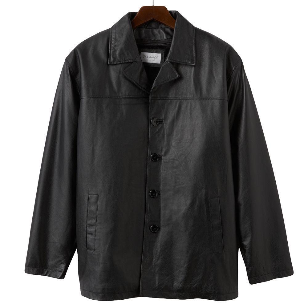 NWT Men\'s Vintage Leather Car Coat in Black - Size Large