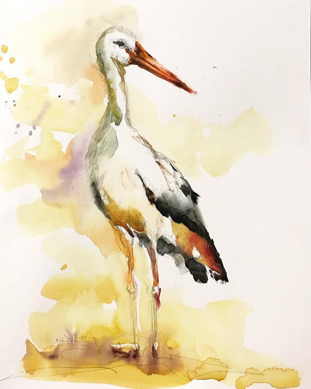 Valerie Mafrica Art On Instagram Cigogne Stork Cigogne