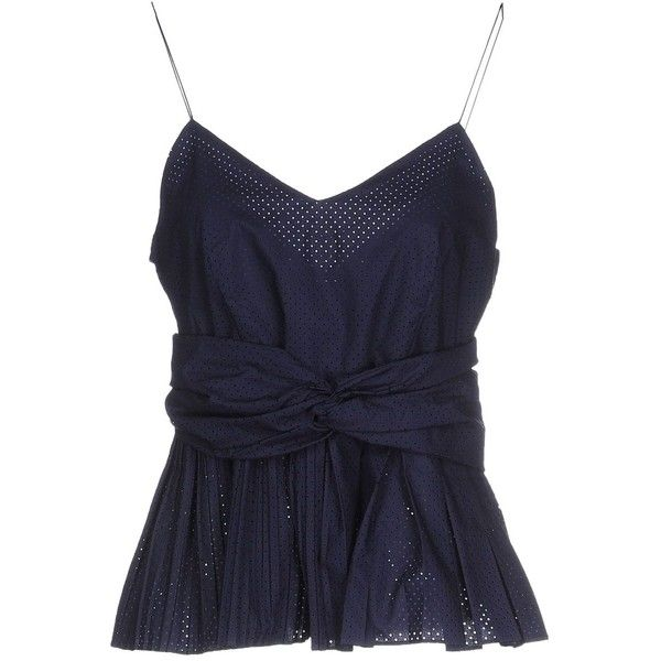 Pinko Top ($160) ❤ liked on Polyvore featuring tops, dark blue, pleated sleeveless top, zipper top, zip top, blue sleeveless top and pleated top
