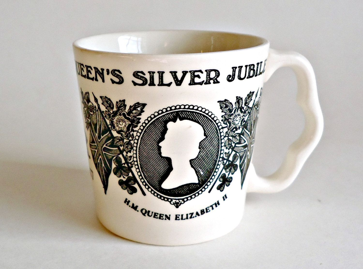 Commemorate The Queen's Silver Jubilee  Queen Elizabeth Prince Philip 1952-1977 Mug Cup Mason's by treasurecoveally on Etsy