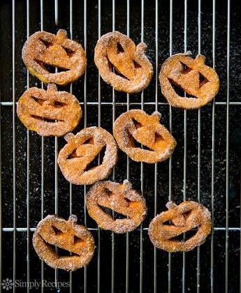 Sweet Potato Jack-o-Lanterns with Cinnamon Sugar on SimplyRecipes.com