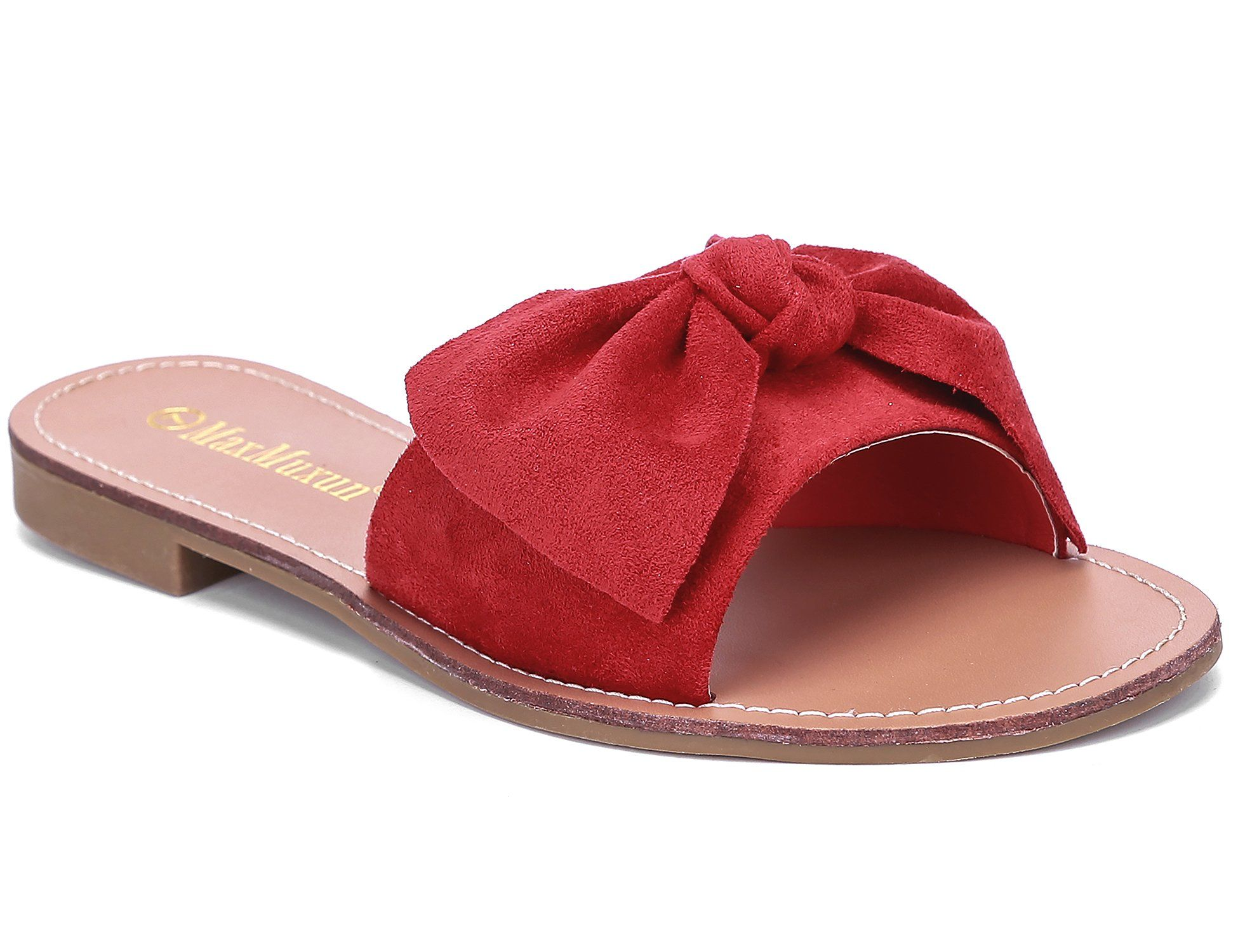 aba9af301 MaxMuxun Women Shoes Suede Bow Tie Flat Sandals Comfort Slip On Slides 11 US/42  EU Red ** You can get more details by clicking on the image.
