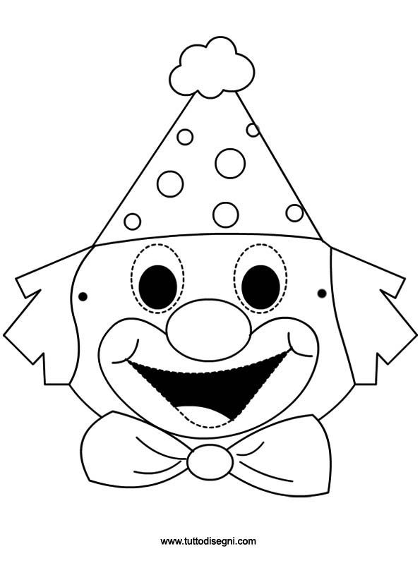 Maschera Pagliaccio per bambini da colorare