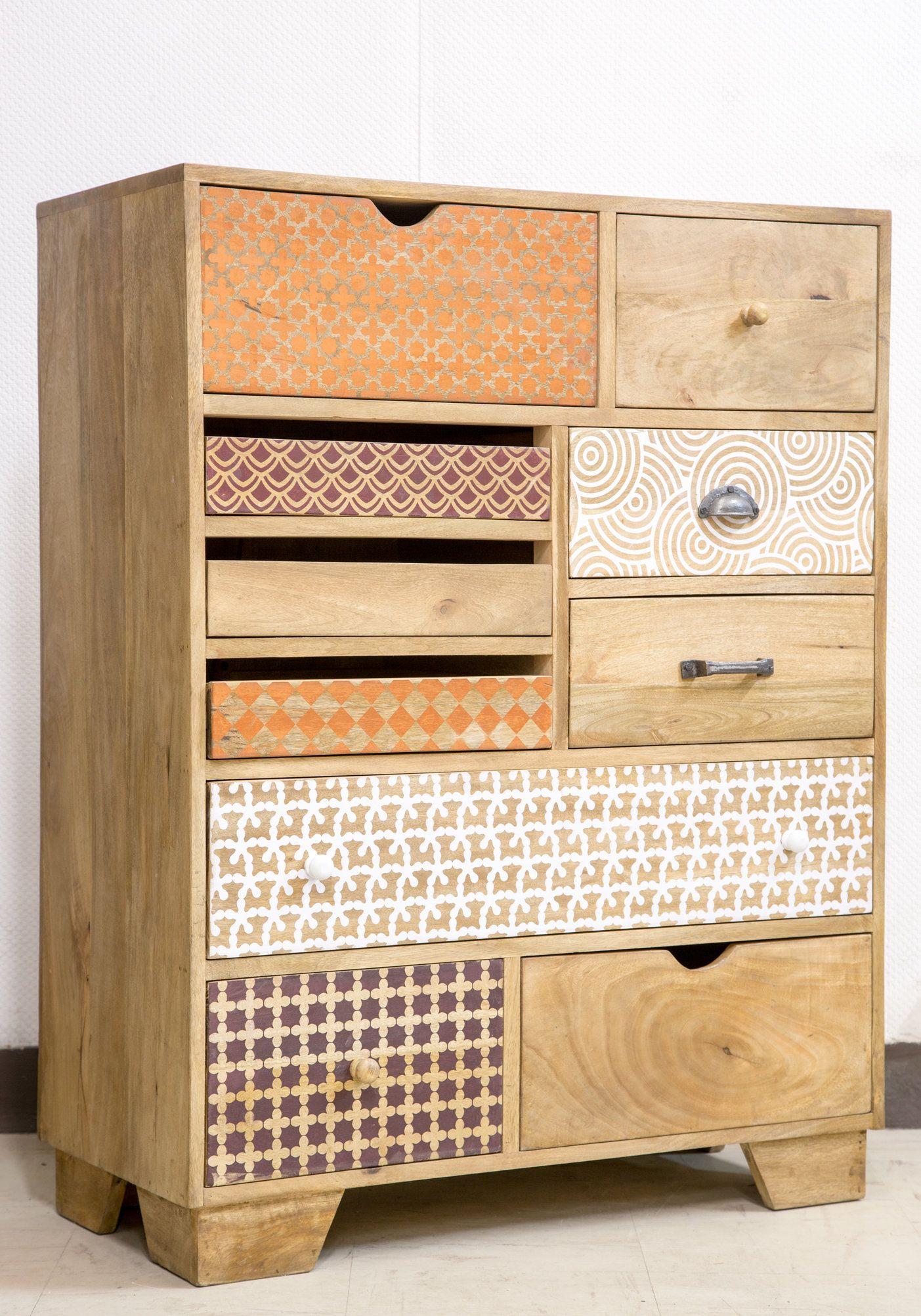 Commode bois multi tiroirs imprim commodes design pinterest commode bois commodes et tiroir - Customiser meuble en bois ...