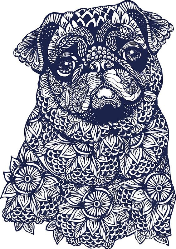 Mandala Of Pug By Huebucket Dibujos De Perros Bulldog Frances