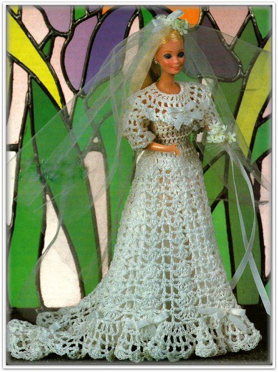 Barbie Pattern, Crochet Bride Dress, Train,Veil, Slip & Bouquet ...