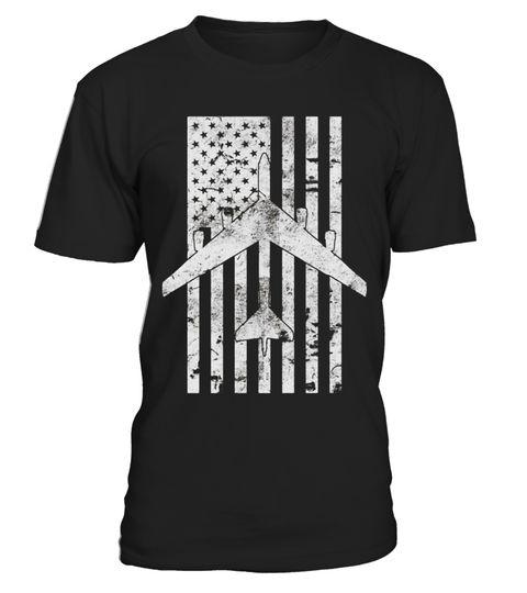 # B-52 Stratofortress Bomber Flag Distressed Pilot Shirt