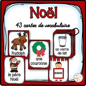 43 cartes qui portent sur le vocabulaire de Noël.