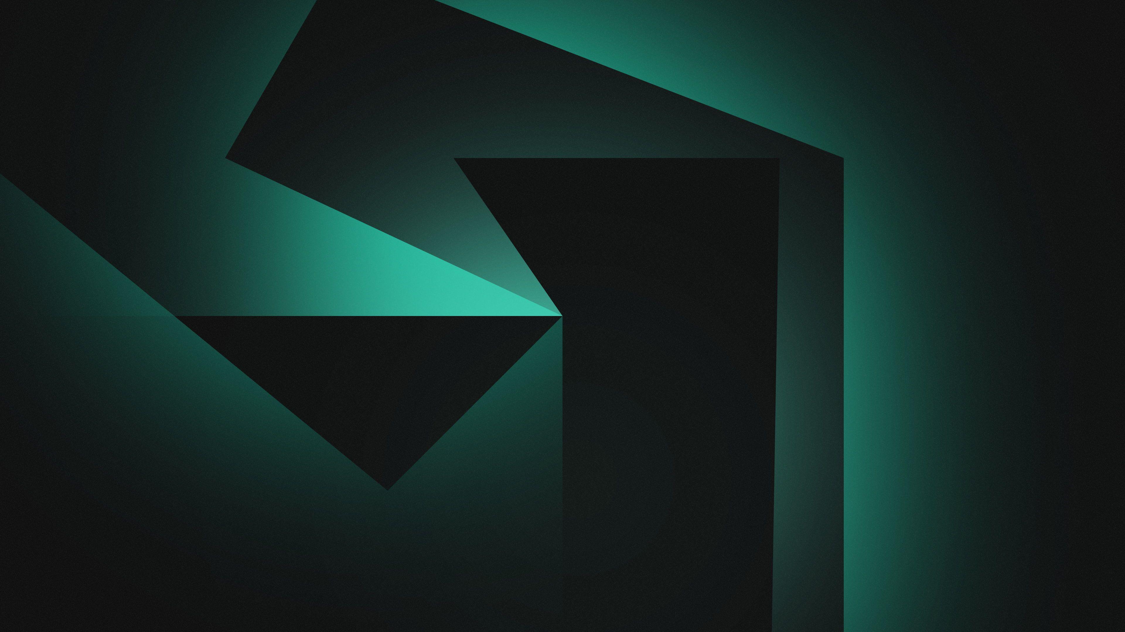 Shapes Geometric Dark Background Gradient Green 4k Black 4k Wallpaper Hdwallpaper Desktop In 2020 Dark Backgrounds Geometric Dark Wallpaper