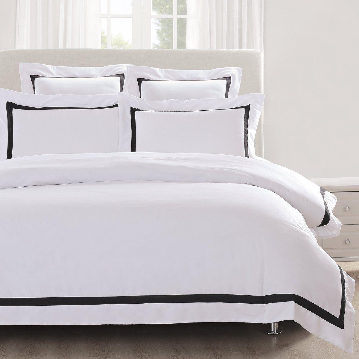 Ava Quilt Cover Set Black Trim White Quilt Cover Quilt Cover Sets White Linen Bedding
