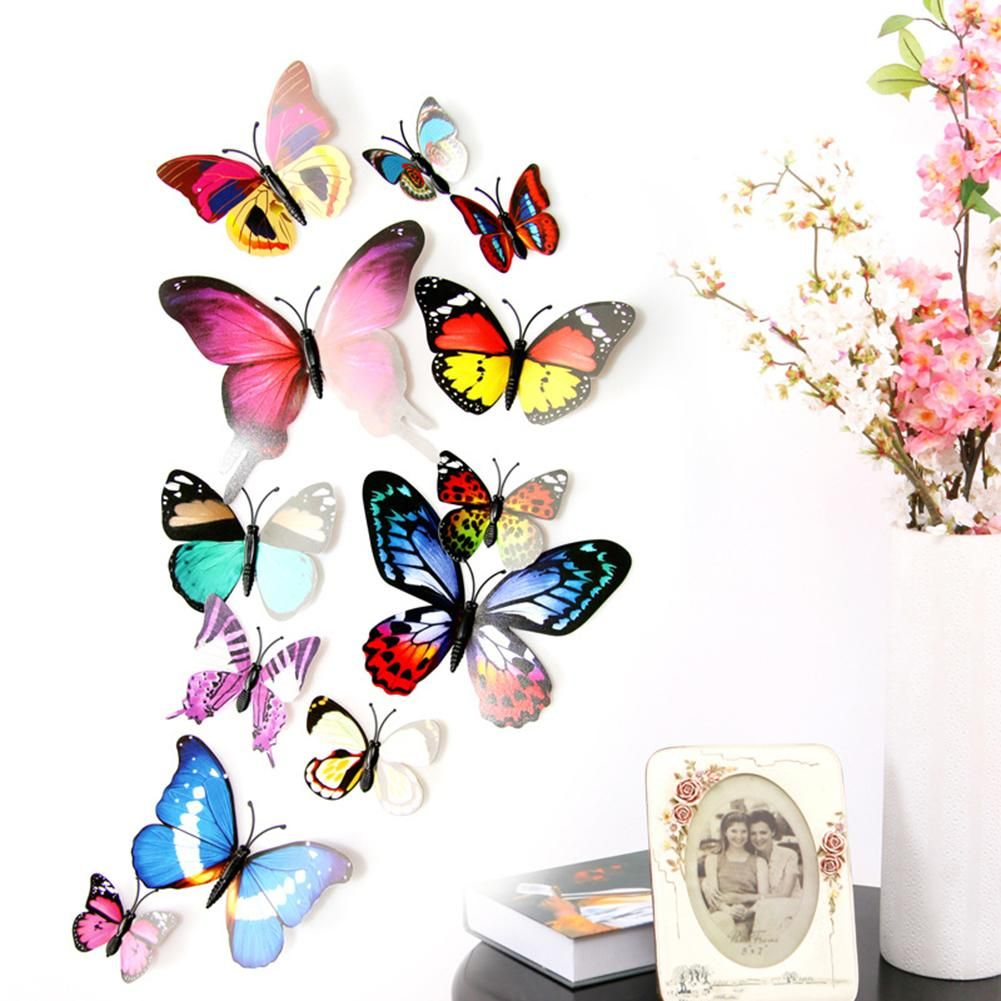 Photo of 12Pcs 3D PVC Butterfly Art Wall Stickers with Pin Decoration Home Room Decors – Random Color