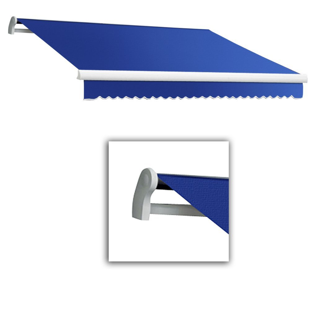 Maui 24 Ft Motorized Retractable Awning 10 Ft Projection Right Side Motor In Bright Blue Retractable Awning Home Depot Outdoor Fabric