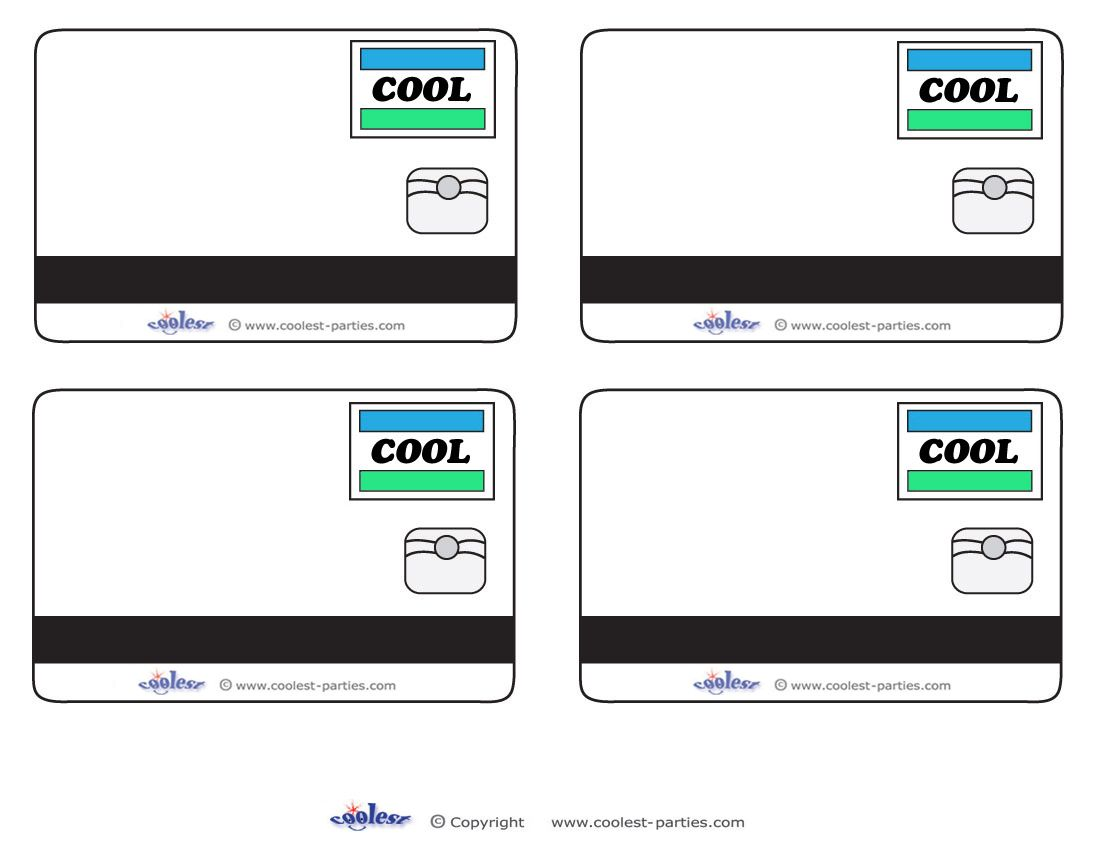 Blank printable cool credit card thank you cards