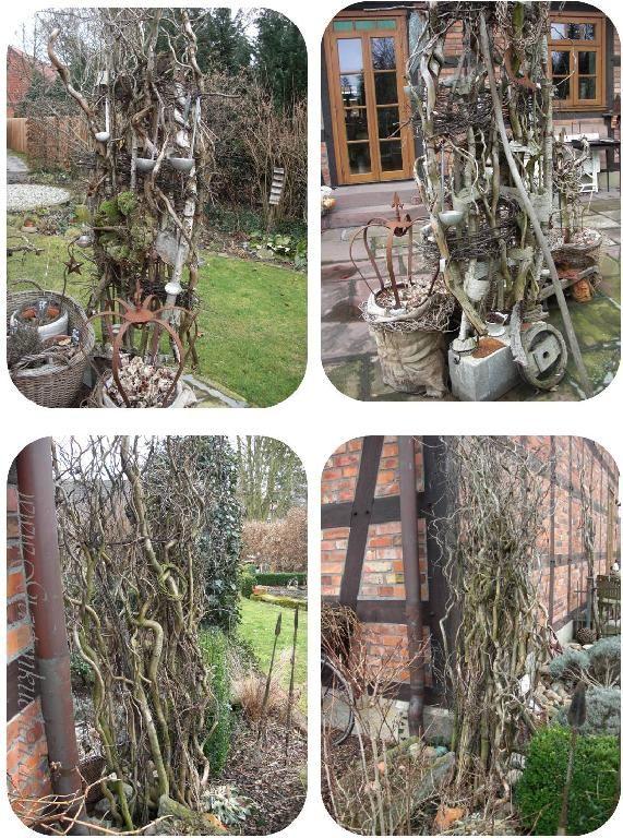 Gartenraumteiler aus Schalstein mit Beton gefüllt und Ästen - gartendekoration aus holz