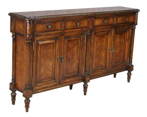 Narrow 4 Door 4 Drawer Console Cabinet Console Cabinet Cabinet Ornate Furniture