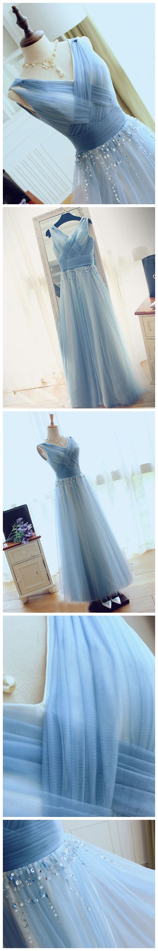 2017 Chic Prom Dress A-line V-neck Blue Tulle Cheap Evening Dress ...