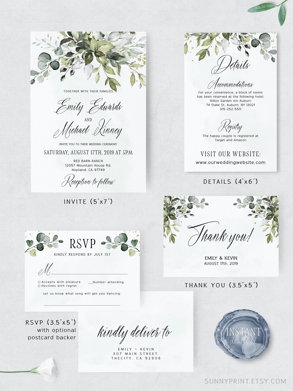 Greenery Wedding Invitation template Printable Wedding  Etsy in
