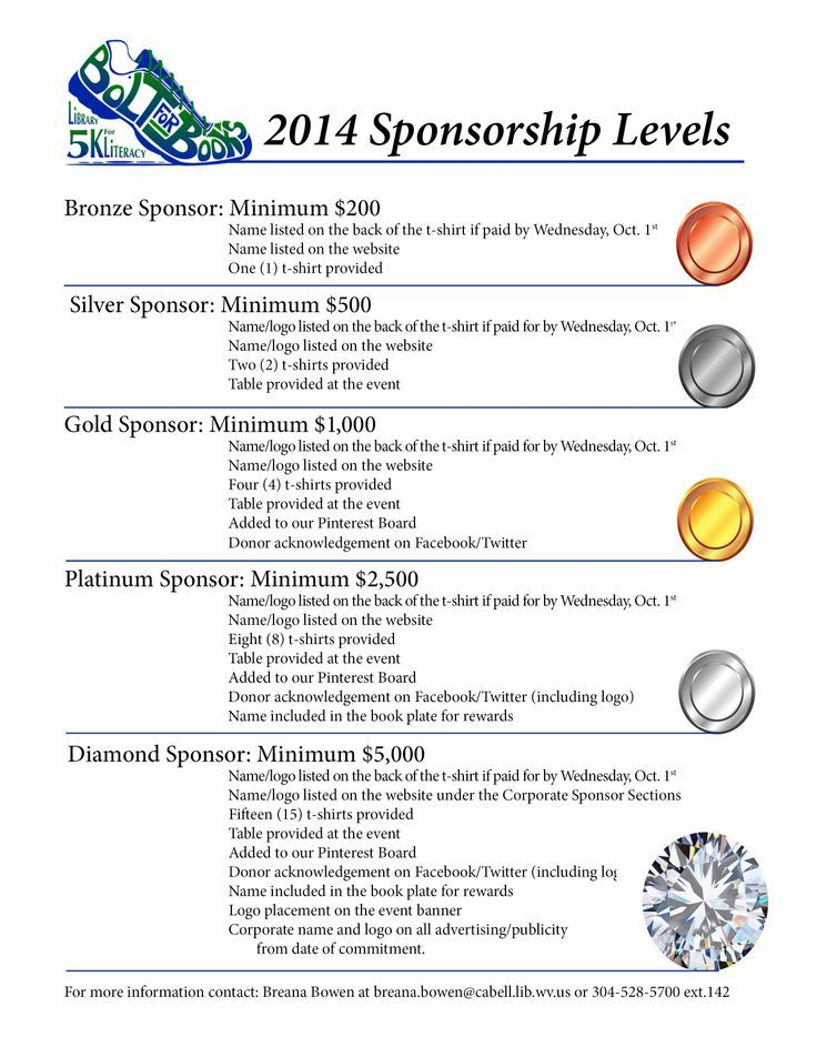 Levels Of Sponsorships Ideas  Sponsorship Levels Name Ideas