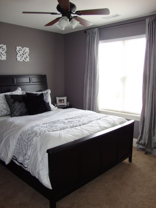 Gray purple guest room purple grey guest bedroom for Grey wall bedroom ideas