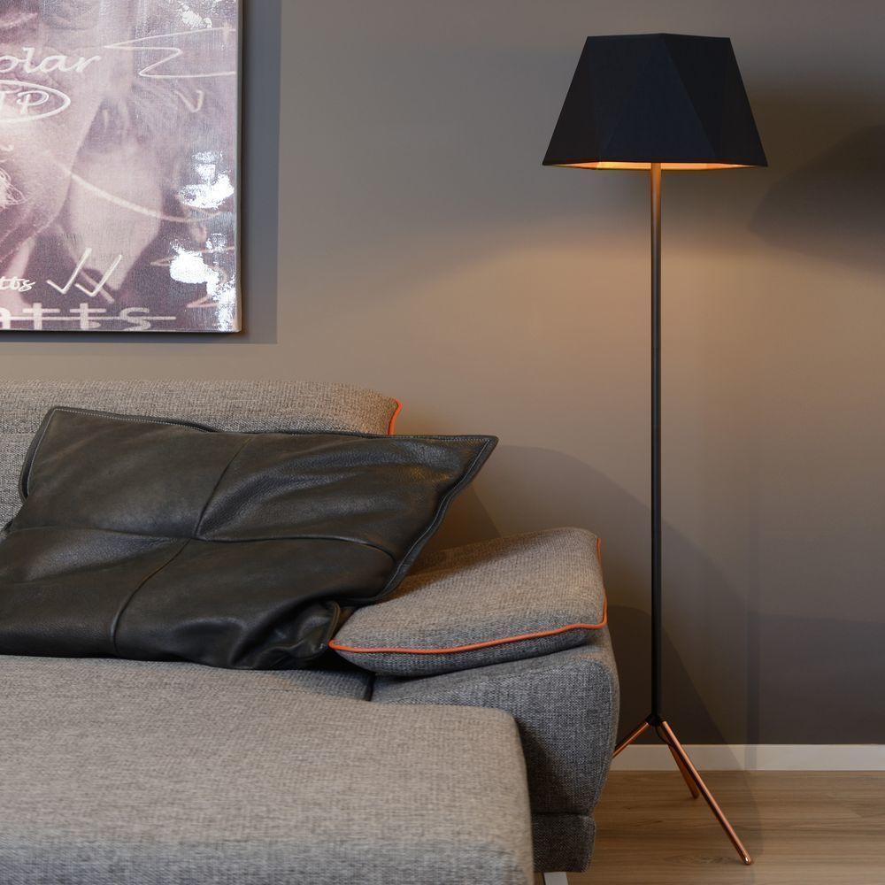 Stehleuchte Alegro Schwarz Gold E27 Stehlampen Wohnzimmer