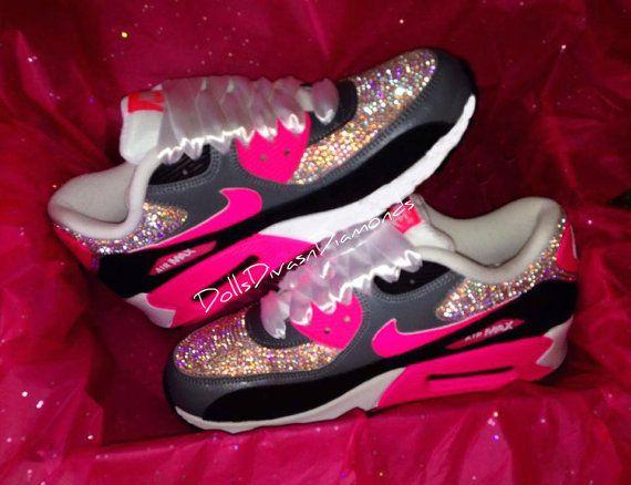 Pink   Grey Swarovski Nike Air Max 90 s by DOLLSDIVASNDIAMONDS ... 6e7a8f6e3ae1