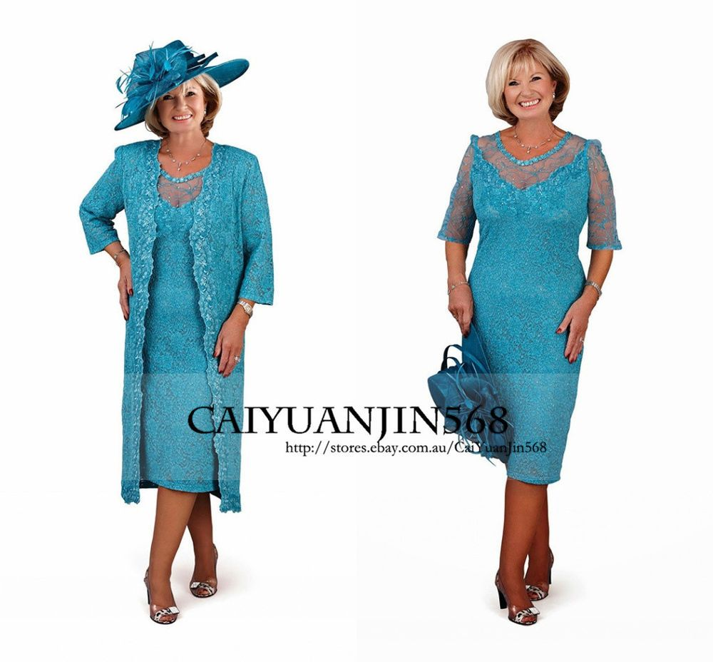 Lace Mother Of the Bride Outfits with Long Coat Plus Size Wedding ...