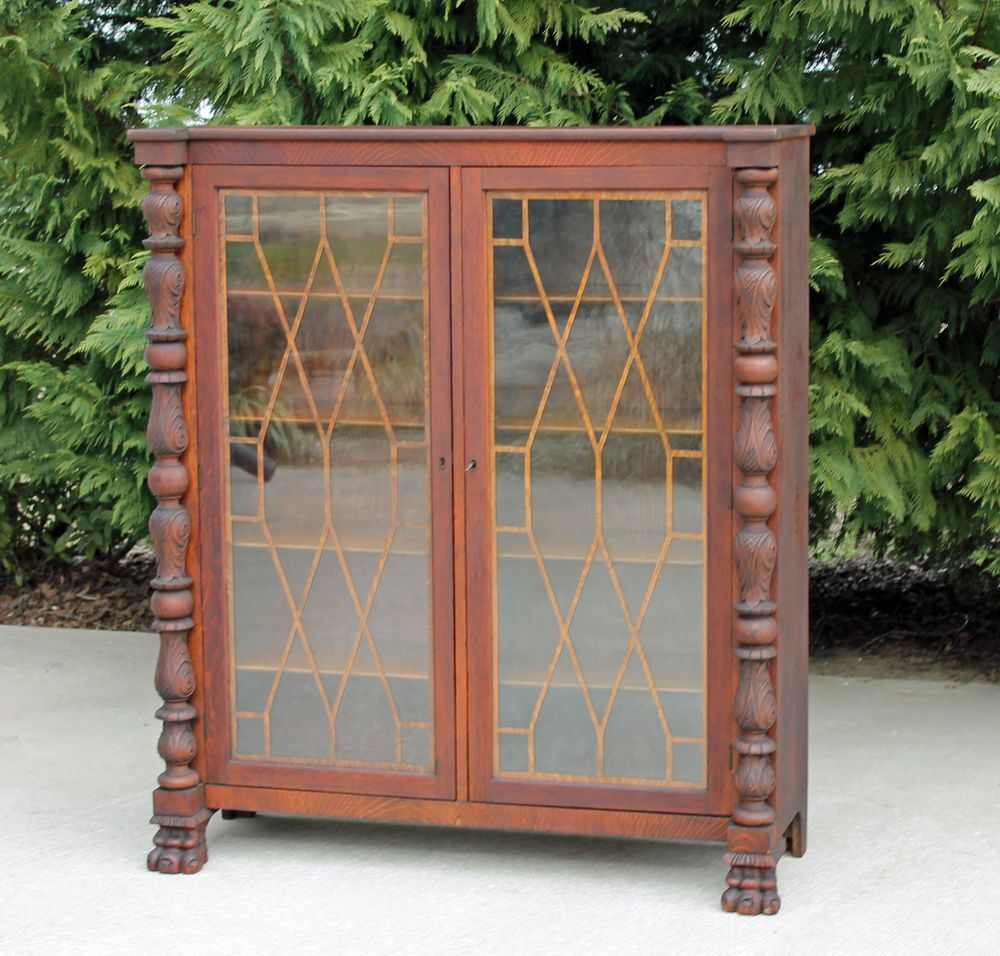 Tiger Oak Acanthus Carved Columns & Paw Feet Bookcase Display Cabinet c1890 #Empire