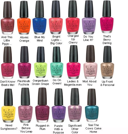 OPI Nail Colors.. can get at rite aid, walgreens, walmart, target ...