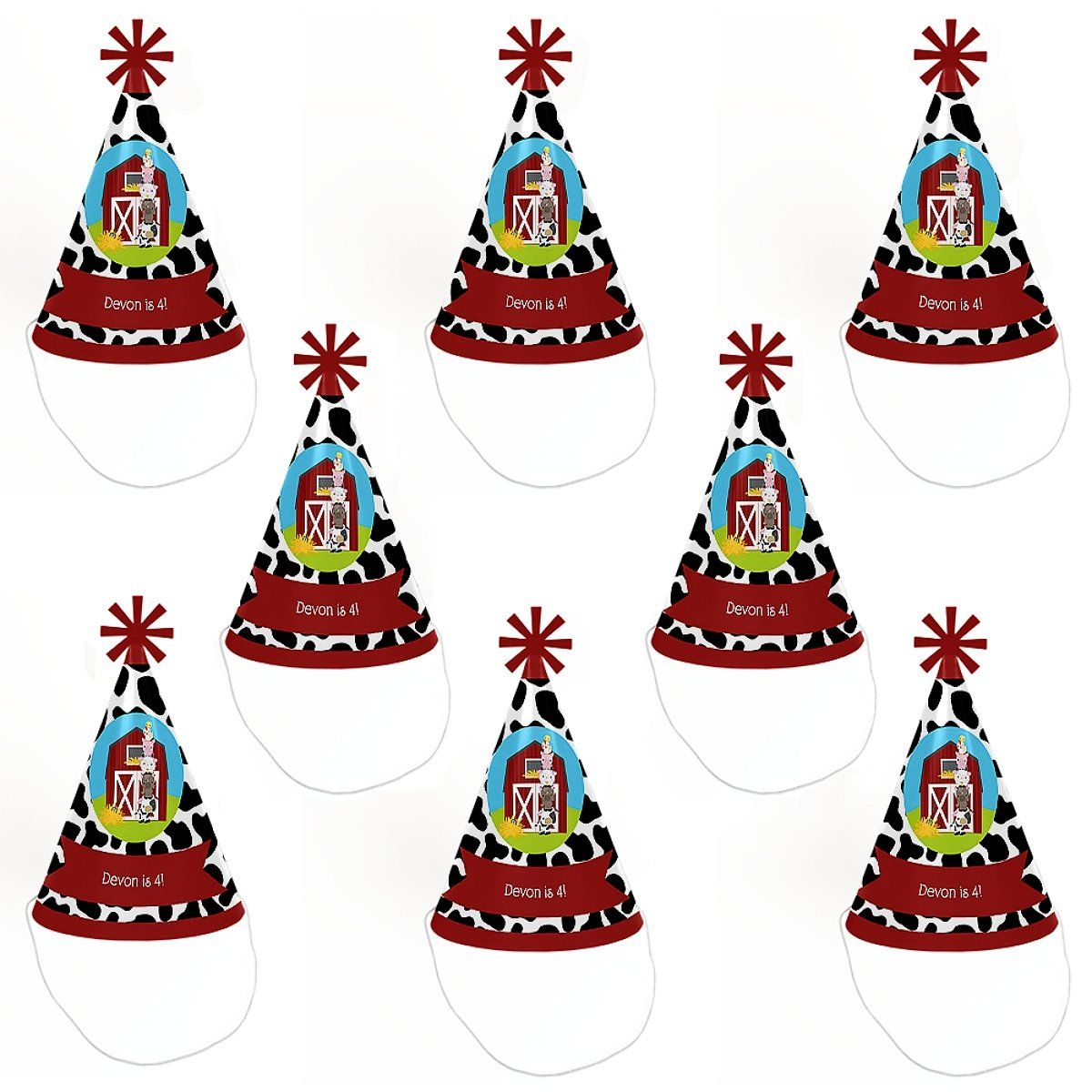 Custom Farm Animals Personalized Cone Happy Birthday Party Hats For Kids And Adults Set Of 8 Standard Size See This Great Product