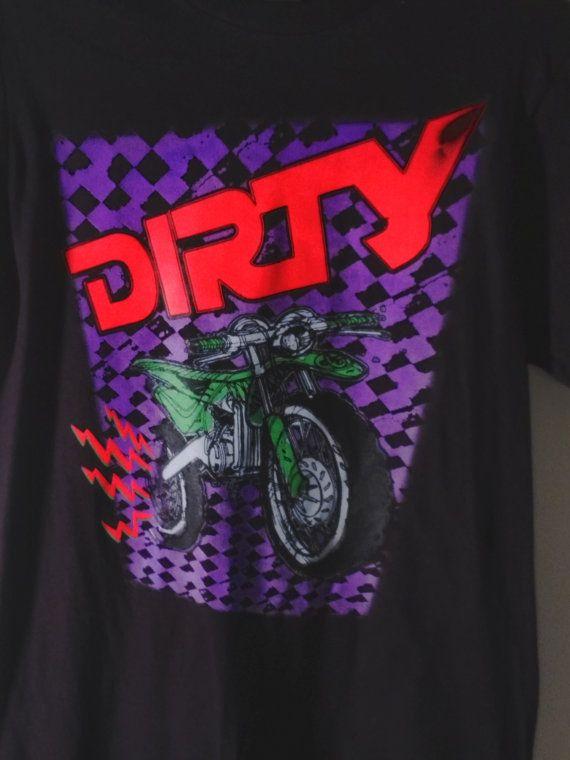 DIRTY Neon Print Dirt Bike Tee - Dark Gray
