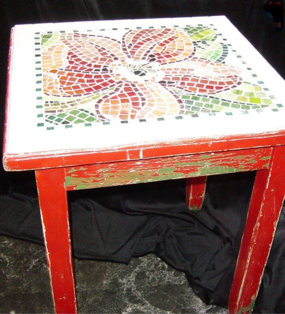 Great idea for a thrift table. Country Cafe Mosaic Vintage Table by brendapokorny on Etsy, $875.00
