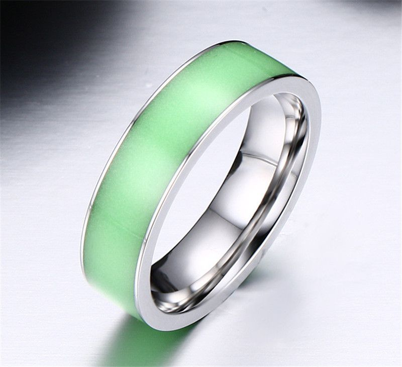 green glow in the dark couples rings for men titanium steel wedding jade ring anel engagement - Jade Wedding Ring