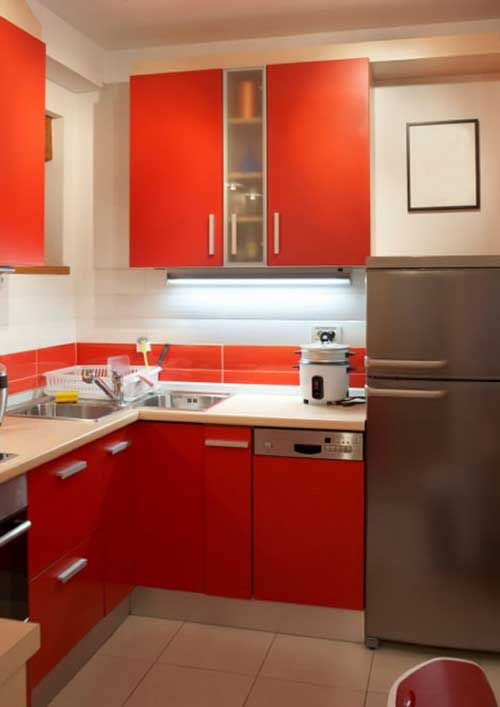 Modern Decoration Interior Design Kitchen With White Wall Fitted Wardrobes  Orange Orange Kitchen Cabinets Lands Orange And Gray Refrigerator And Sink  Beige ...