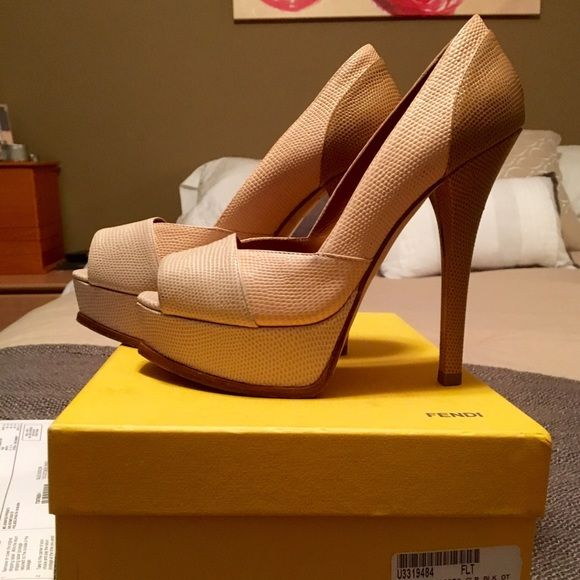 Fendi Platfom Heels 100% Authentic Fendi Heels, Tri-color, Pink, Nude & Tan! Great condition. A few scuffs but only worn a few times. Comes with original box FENDI Shoes Platforms