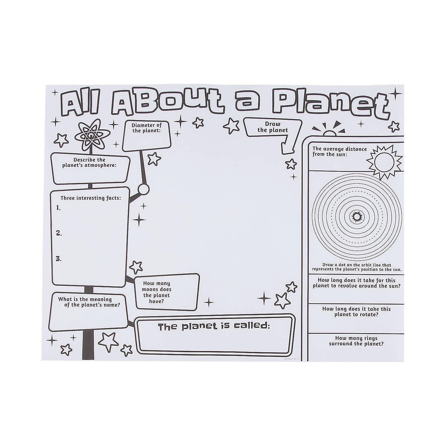 Color Your Own All About A Planet Posters
