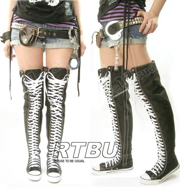 542ca7b48a Punk Emo Goth Thigh High Converse Style Canvas Lace Up Sneaker Boots | eBay  - OMG WANT!!!