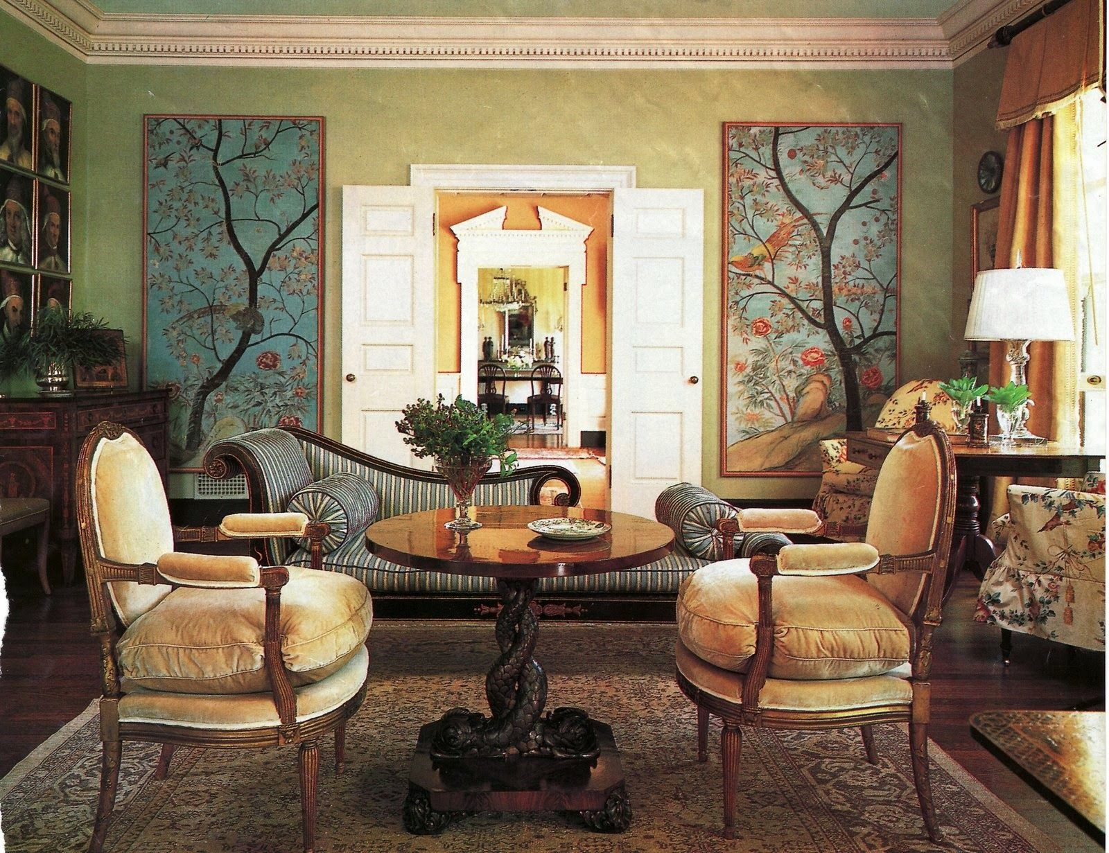 because wallpapering a room in hand painted chinoiserie wallpaper will cost you a small fortune. Panels are a much less costly, but equally beautiful solution if you have the desire without the dollars.