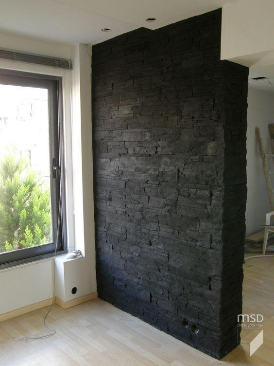 schwarze steinwand wohnbereich wandgestaltung wohnzimmer pinterest steinwand wohnbereich. Black Bedroom Furniture Sets. Home Design Ideas