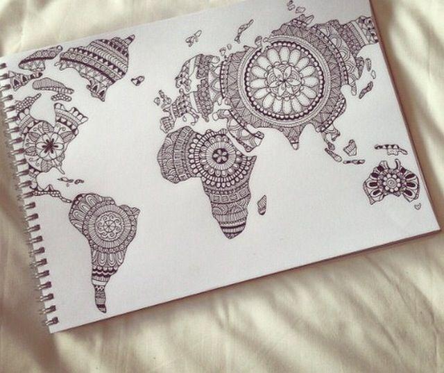 Weltkarte mandala tattoo pinterest weltkarte for Weltkarte mit fotos
