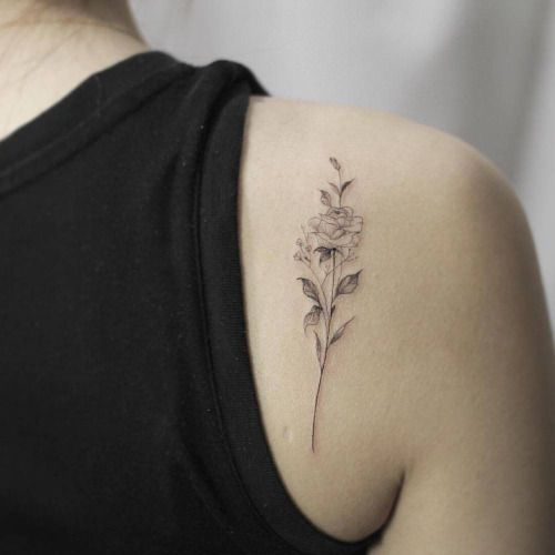 Fine Line Rose Tattoo On The Right Shoulder Blade Tattoo Shoulder Blade Tattoo Flower Tattoo Shoulder Blade Tattoo