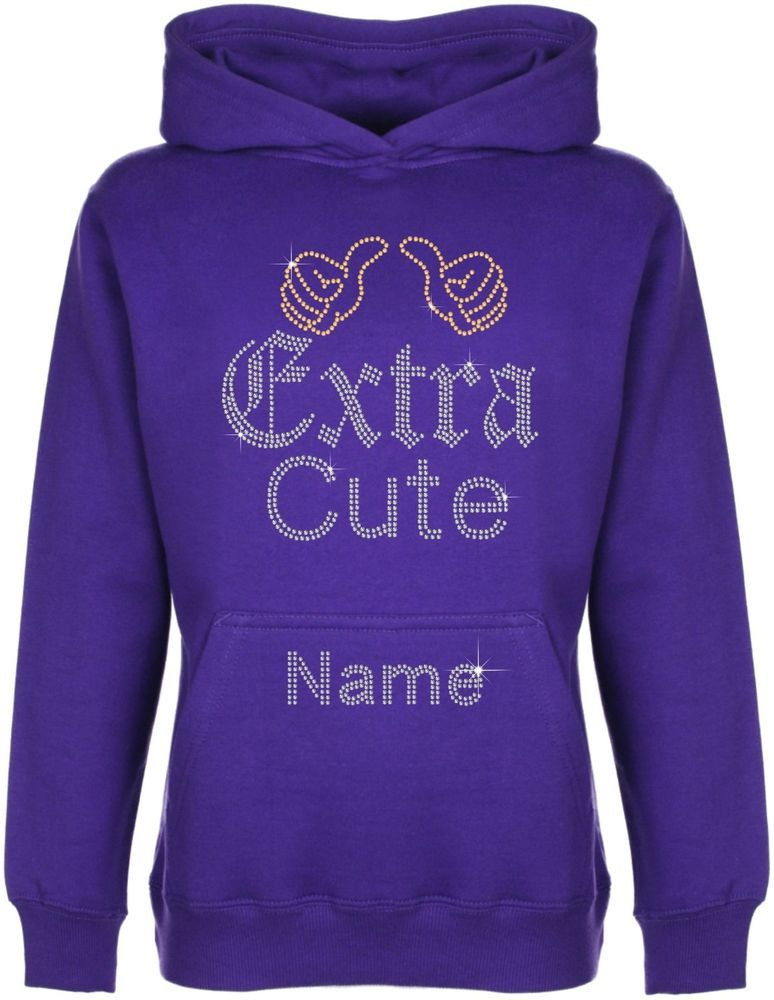 Personalised Extra Cute Rhinestone Diamante Embellished Hoodie Gift for  Girls #GuildenFDMFruitOfTheLoomorequivalent #Hoodie