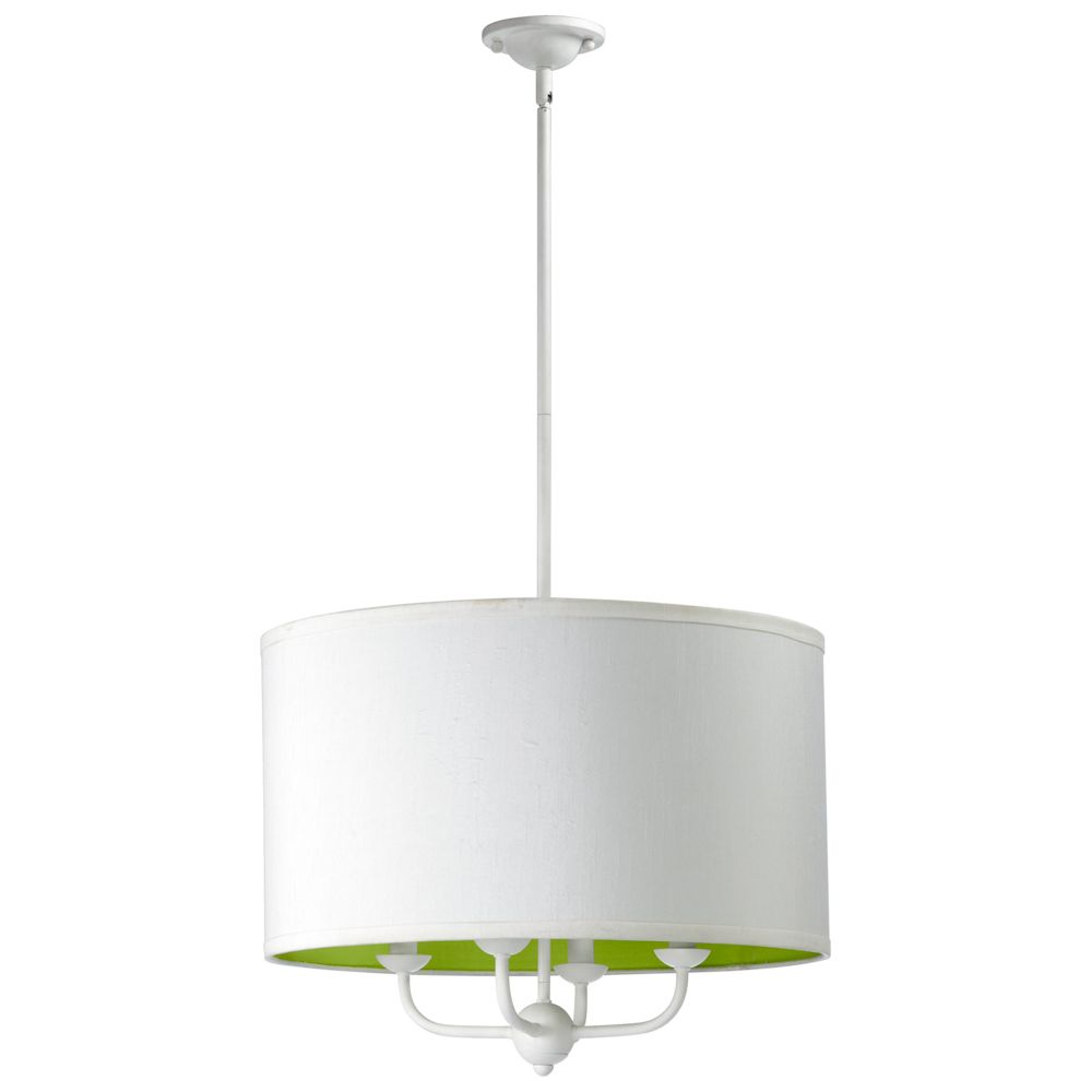 Cyan designs white dublin hanging pendant lamp with lime green lining lighting