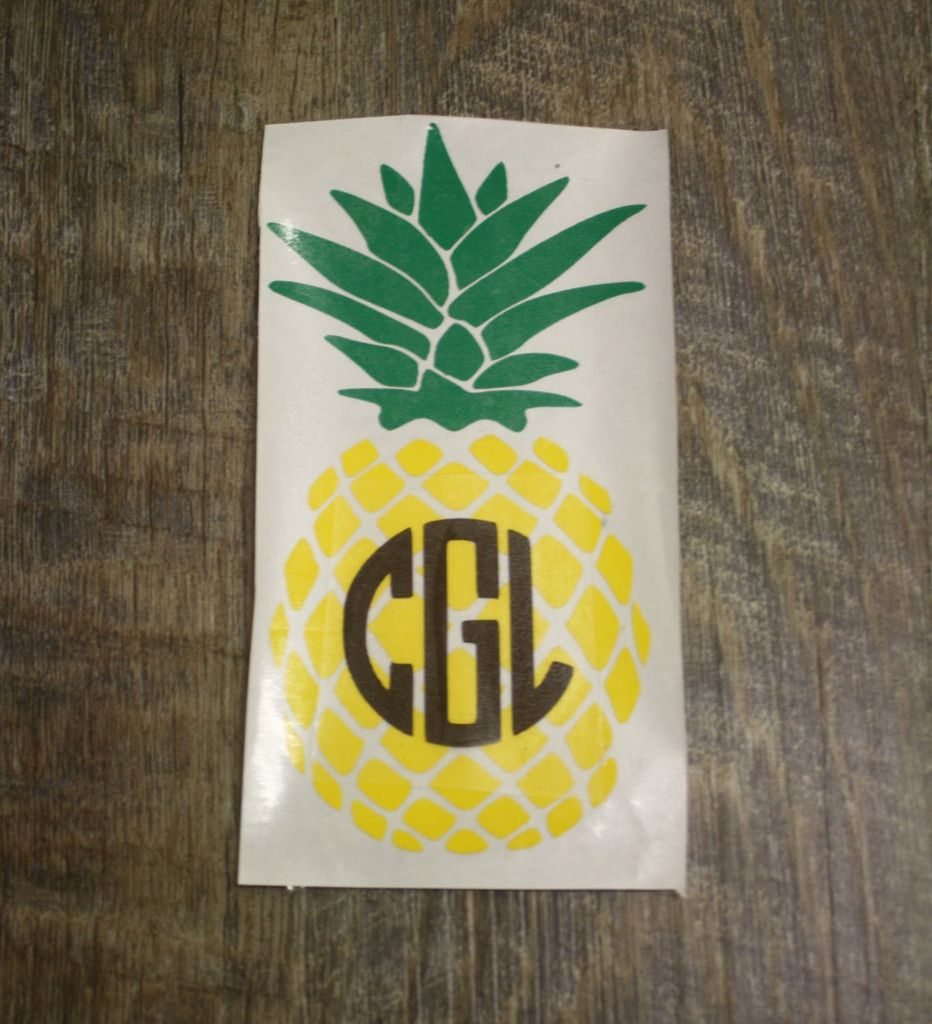 Custom Pineapple Decal Sticker with Circle Monogram | Wall Decor ...