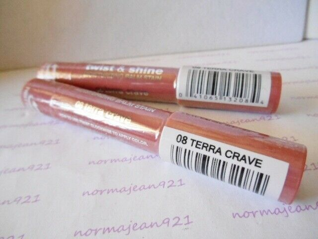 Lot of 2 JORDANA Twist & Shine Moisturizing Lip Balm Stain #08 Terra Crave #JORDANA