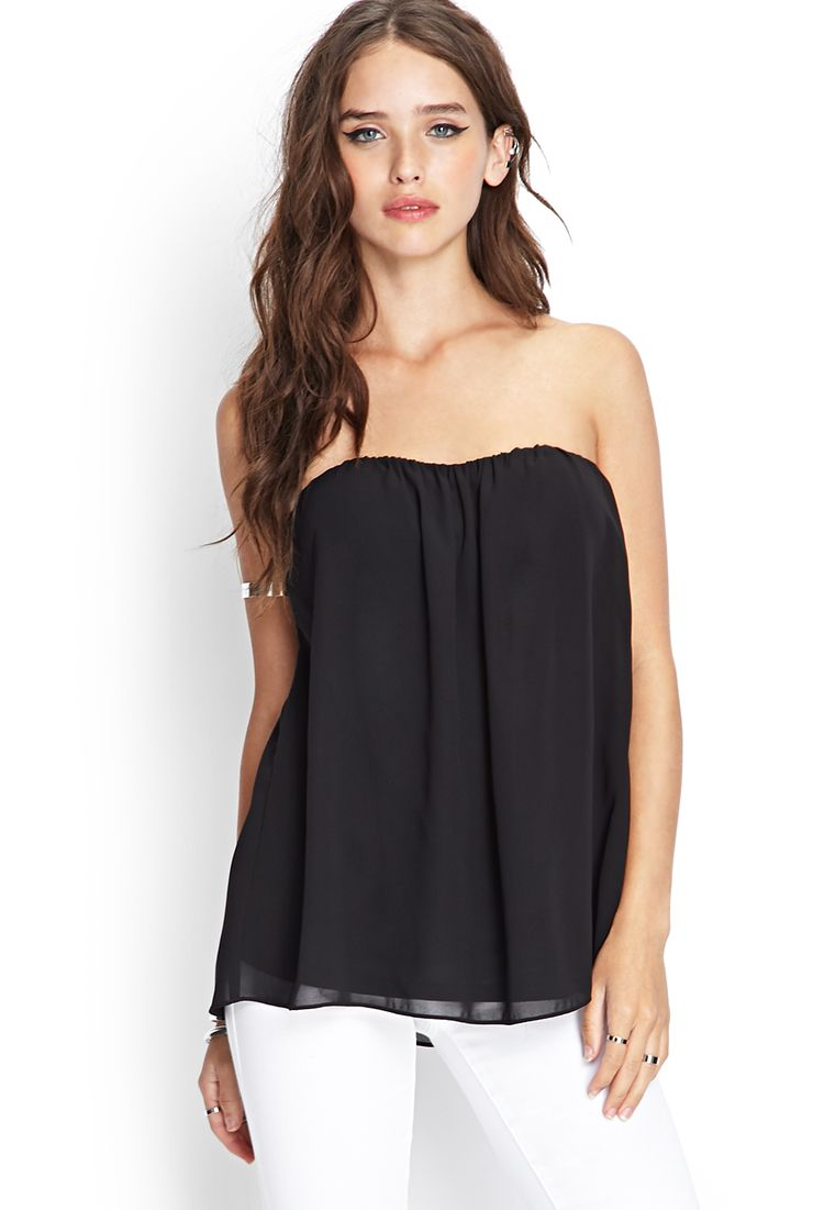 Strapless Cutout Chiffon Top | FOREVER21 - 2000101713 ...