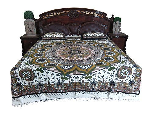 Indian Hand Block GALICHA Printed Home Furnishings 100 % Cotton Queen 3 Pcs Bed Cover Mogul Interior http://www.amazon.com/dp/B00RGE297K/ref=cm_sw_r_pi_dp_z4tOub1YQX104