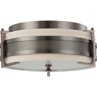 @Overstock.com - Nuvo Diesel 3-light Hazel Bronze Flush Mount Fixture - This contemporary three-light bronze flush mount makes a great accent for any room. Featuring a style that is uniquely modern, this fixture uses a fabric shade to provide soft illumination and create a more comfortable and inviting atmosphere.  http://www.overstock.com/Home-Garden/Nuvo-Diesel-3-light-Hazel-Bronze-Flush-Mount-Fixture/7918115/product.html?CID=214117 $128.99